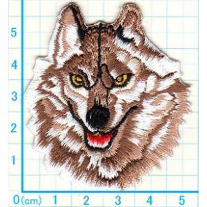 【送料62円】狼S/茶色/アイロンアップリケワッペン/刺繍/動物/オオカミ/ハスキー犬|siripohn