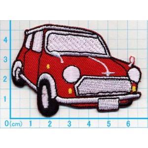 【送料62円】miniミニ自動車M/赤/アイロンアップリケワッペン/刺繍/乗り物|siripohn