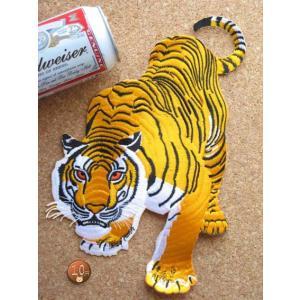 【送料62円】トラC/LLサイズ/アイロンアップリケワッペン/刺繍/動物/虎/タイガー/大きめ|siripohn