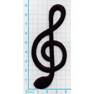 【送料62円】ト音記号A/黒/アイロンアップリケワッペン/刺繍/メロディ音楽音符マーク|siripohn