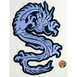 【送料62円】ドラゴンXL/シルバー(明灰色)/アイロンアップリケワッペン/刺繍/龍エンブレム|siripohn