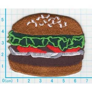 【送料62円】ハンバーガー/アイロンアップリケワッペン/刺繍/フード/食品|siripohn