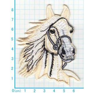 【送料62円】馬/オフホワイト/アイロンアップリケワッペン/刺繍/動物/ウマ|siripohn