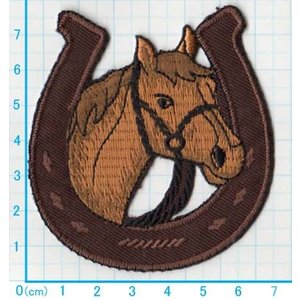 【送料62円】馬と蹄鉄/アイロンアップリケワッペン/刺繍/動物/ウマ|siripohn