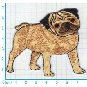 【送料62円】パグ犬/アイロンアップリケワッペン/刺繍/動物/イヌ/いぬ|siripohn