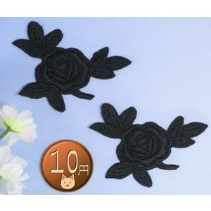 【送料62円】 バラc_S/黒2枚セット/アイロンアップリケワッペン/刺繍/花/薔薇|siripohn