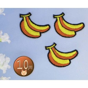 【送料62円】バナナb_S 3枚セット/アイロンアップリケワッペン/刺繍/くだもの|siripohn