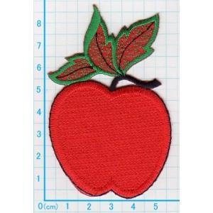 【送料62円】リンゴa_M/アイロンアップリケワッペン/刺繍/フルーツ|siripohn