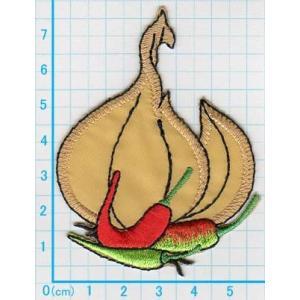【送料62円】にんにくとうがらし/スパイス/アイロンアップリケワッペン/刺繍/野菜/クッキング|siripohn