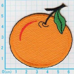 【送料62円】みかん_M/オレンジ/アイロンアップリケワッペン/刺繍/フルーツ|siripohn