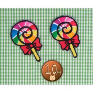 【送料62円】ロリポップs2枚セット/アイロンアップリケワッペン/刺繍/飴/お菓子/スイーツ|siripohn