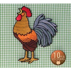 【送料62円】ニワトリ/アイロンアップリケワッペン/刺繍/鳥/鶏/にわとり/チキン/酉|siripohn