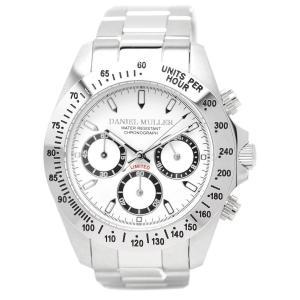 [ダニエル・ミューラー]DANIEL MULLER 腕時計 クロノグラフ メンズウォッチ DM-2003WH シルバー×ホワイト メンズ|siromaryouhinn