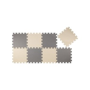 CBジャパン ジョイントマット 厚め 12mm 8枚組 カラーマット グレー×ベージュ (クッキークリーム)|siromaryouhinn