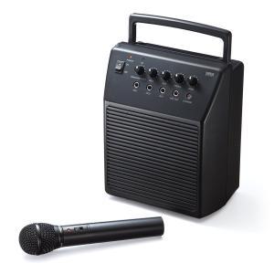 サンワダイレクト ワイヤレスマイク スピーカーセット 拡声器 アンプ内蔵スピーカー 会議 イベント 対応 マイク入力2系統 18W 400-SP055|siromaryouhinn
