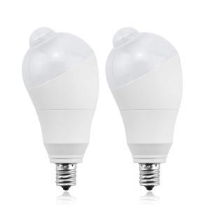 LED電球 人感センサー電球 E17 50W形相当 5W センサーライト 自動点灯/消灯 斜め 360度回転 検知角度調節可能 省エネ 防犯ライト 電球色 2個入り siromaryouhinn