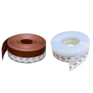 隙間テープ 網戸隙間テープ 冷暖房効率アップ 花粉やホコリ侵入防止 扉の隙間 サッシ シール 耐久性 2個 5m? (半透明 茶褐色) siromaryouhinn