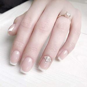 ロマンチックのフランス風ネイルチップ 付け爪 花嫁ネイルパーツ つけ爪 ネイルジュエリー ネイルアート siromaryouhinn