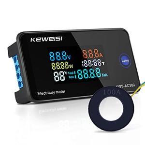 Aideepen 0-100A電圧電流計多機能電力テスターチェッカーAC 50-300V デジタルマルチメーター、電流/電圧/電力/エネルギー/温度/時間測定LCDディスプレイパネル外 siromaryouhinn