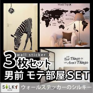 ウォールステッカー 送料無料 ( 男性向け3枚セット) 空室対策 簡単に部屋の模様替え シール式 ウォールステッカー 壁紙 slb|siruki