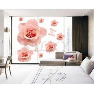 (ピンクローズ)  ウォールステッカー シール 北欧 壁紙  はがせる壁紙 キッチン お風呂 に 貼る トイレ  かわいい 子供部屋 バラ 花 植物 | 窓 ウォール ステ|siruki