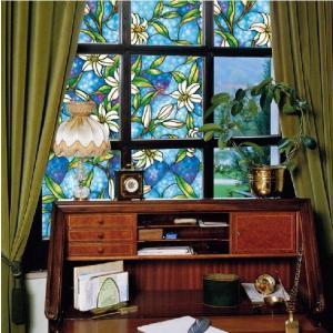 A [のり不要]《ブルーフラワー》 ステンドグラス風ガラスフィルム1メートル幅2種類 窓飾りシート シール 目隠し はがせる 防水 断熱 ガラスフィルム 送料無料 ||siruki