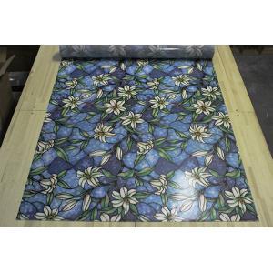 A [のり不要]《ブルーフラワー》 ステンドグラス風ガラスフィルム1メートル幅2種類 窓飾りシート シール 目隠し はがせる 防水 断熱 ガラスフィルム 送料無料 ||siruki|05