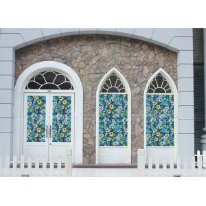 A [のり不要]《ブルーフラワー》 ステンドグラス風ガラスフィルム1メートル幅2種類 窓飾りシート シール 目隠し はがせる 防水 断熱 ガラスフィルム 送料無料 ||siruki|06