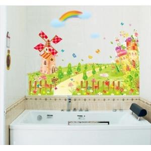 (カラフル風車とお庭)  ウォールステッカー ウォール ステッカー ウオール シール 北欧 はがせる 壁紙  子供 | 窓 お風呂 に 貼る 花 貼ってはがせる キッチ|siruki