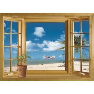 (海と出窓) トリックアートな窓 ウォールステッカー ウォール ステッカー シール 北欧  自然 はがせる 壁紙  子供にも安心♪窓/海/ハワイ南国夏 自|siruki
