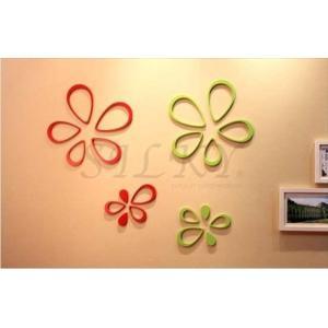 木でできたウォールステッカー 立体フラワー 選べる3色 3Dシール ウッド 北欧 はがせる 壁紙シール インテリアシール 壁紙 賃貸 装飾 ウォールデコ 送料無料|siruki