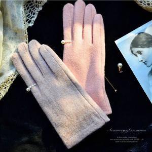 【新春SALE1000円OFF】◆スマホー対応◆パールリングモチーフウール手袋〔GV-003-2〕