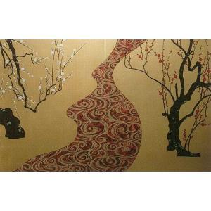 壁画風壁紙 紅白梅 (洋金箔) 裏面糊なし 幅184cm×高さ113cm (かべ紙/クロス//張替) siturai