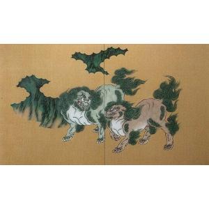 壁画風壁紙 唐獅子の図 (洋金箔) 裏面糊なし 幅184cm×高さ235cm (かべ紙/クロス//張替) siturai