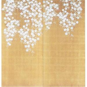 壁画風壁紙 古代金枝垂桜(2枚1組) 裏面糊なし 幅184cm×高さ185cm (かべ紙/クロス//張替) siturai