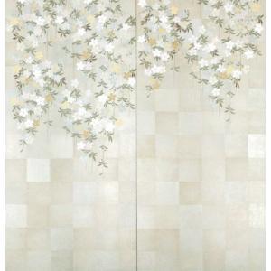 壁画風壁紙 古代銀枝垂桜(2枚1組) 裏面糊なし 幅184cm×高さ185cm (かべ紙/クロス//張替) siturai