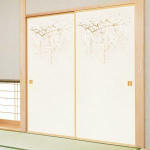 一般織物ふすま紙 枝垂れ桜 1枚物 (襖紙/襖/ふすま/張替)|siturai