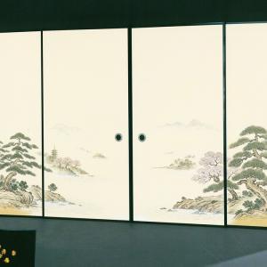 高級織物襖紙 伝統手加工襖絵 No.151 4枚組 (襖/ふすま/ふすま紙/松桜/張替)|siturai