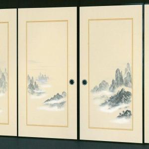 高級織物襖紙 伝統手加工襖絵 No.152 4枚組 (襖/ふすま/ふすま紙/山水画/張替)|siturai