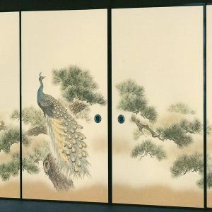 高級織物襖紙 伝統手加工襖絵 No.157 4枚組 (襖/ふすま/ふすま紙/孔雀クジャク/張替)|siturai