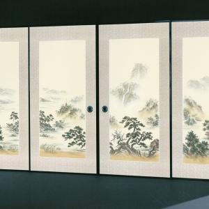 高級織物襖紙 伝統手加工襖絵 No.160 4枚組 (襖/ふすま/ふすま紙/山水画/張替)|siturai
