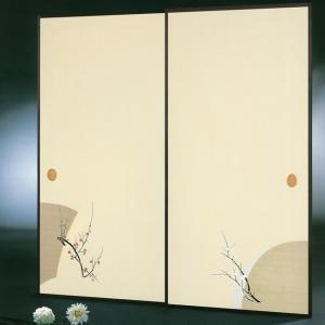 高級織物襖紙 伝統手加工襖絵 No.162 2枚組 (襖紙/ふすま紙/松/張替)|siturai