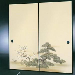 高級織物襖紙 伝統手加工襖絵 No.164 2枚組 (襖紙/ふすま紙/松/張替)|siturai
