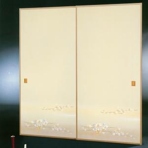 高級織物襖紙 伝統手加工襖絵 No.168 1枚物 (襖紙/ふすま紙/松/張替)|siturai