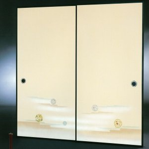 高級織物襖紙 伝統手加工襖絵 No.169 2枚組 (襖紙/ふすま紙/松/張替)|siturai