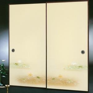 高級織物襖紙 伝統手加工襖絵 No.173 2枚組 (襖紙/ふすま紙/松/張替)|siturai