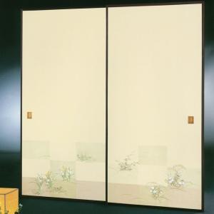 高級織物襖紙 伝統手加工襖絵 No.179 2枚組 (襖紙/ふすま紙/松/張替)|siturai