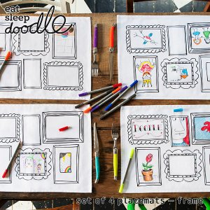 eat sleep doodle(イート スリープ ドゥードゥル)set of 4 placemats frame(お絵描きできるランチョンマット)|sixem-shop