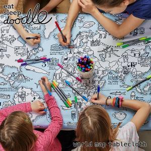 eat sleep doodle(イート スリープ ドゥードゥル)world map tablecloth(お絵描きできるテーブルクロス)|sixem-shop