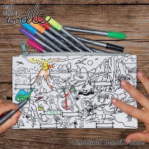 eat sleep doodle(イート スリープ ドゥードゥル)dinosaur pencil case(お絵描きできるペンケース)|sixem-shop